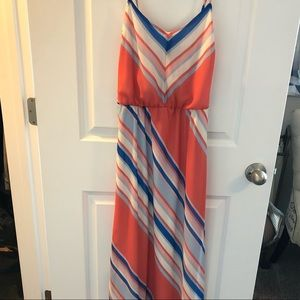 Coral, Pink, White and Blue Maxi Dress - Large